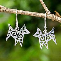 Sterling silver dangle earrings, 'Chic Cat'