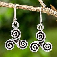 Handcrafted sterling silver earrings, 'Celtic Tri Spiral' - Handcrafted Celtic Spiral Shape Sterling Silver Earrings