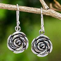 Sterling silver flower earrings, 'Spiral Rose' - Roses in Handcrafted Sterling Silver Hook Earrings