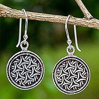 Sterling silver dangle earrings, 'Gothic Weave' - Artisan Crafted Sterling Silver Hook Earrings from Thailand