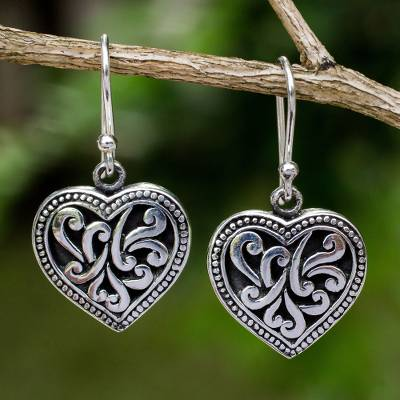 Sterling silver heart earrings, Lighthearted Love