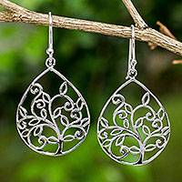 Sterling silver heart earrings, 'Tree of Love' - Artisan Crafted Nature Theme Sterling Silver Dangle Earrings