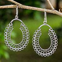 Sterling silver earrings, 'Halo of Lace' - Sterling Silver Handmade Dangle Earrings from Thailand