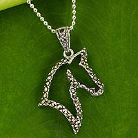 Marcasite pendant necklace, 'The Horse' - Artisan Crafted Marcasite and Silver Horse Pendant Necklace