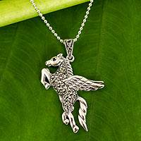 Marcasite and garnet pendant necklace, 'Mighty Pegasus' - Handmade Marcasite and Garnet Pegasus Pendant Necklace