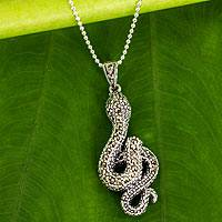 Marcasite and garnet pendant necklace, 'The Snake' - Fair Trade Marcasite and Sterling Snake Pendant Necklace