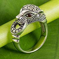 Marcasite and garnet cocktail ring, 'The Cheetah' - Women's Marcasite Cheetah Cocktail Ring with Garnet Accents
