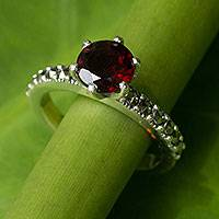 Garnet and marcasite solitaire ring, 'Forever Love' - Thai Sterling Silver Ring with Garnet and Marcasite