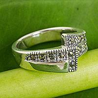 Marcasite wrap ring, 'Seeking You' - Unique Marcasite and Sterling Silver Wrap Ring