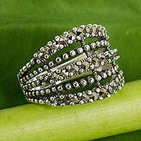 Marcasite cocktail ring, 'Brilliant Night' - Thai Handmade Sterling Silver Cocktail Ring with Marcasite