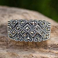 Marcasite band ring, 'Love's Bond' - Unique Women's Band Ring in Sterling Silver with Marcasite