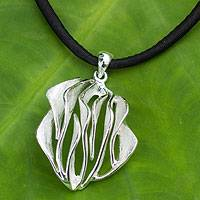 Sterling silver pendant necklace, 'Forest Breeze' - Abstract Handmade Silver and Black Silk Pendant Necklace