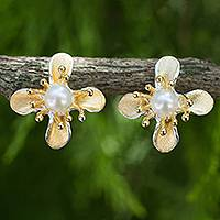 Gold vermeil cultured pearl flower earrings,