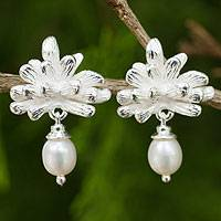 Cultured pearl dangle earrings, 'White Chrysanthemum' - Thai White Cultured Pearl Handcrafted Silver Earrings