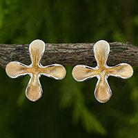 Gold plated flower earrings,
