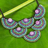 Beaded necklace, 'Purple Green Waterfall' - Thai Artisan Hand Crafted Gemstone Beaded Necklace