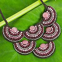 Beaded necklace, 'Pink Red Waterfall' - Hand Crafted Beaded Necklace with Gemstones and Brass