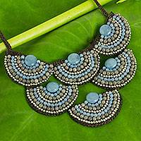 Beaded necklace, 'Blue Grey Waterfall' - Fair Trade Beaded Necklace Crafted by Hand in Thailand