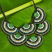 Beaded necklace, 'Green White Waterfall'