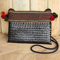 Natural fibers with cotton accent shoulder bag, 'Akha Wonder of Black' - Hill Tribe Natural Fiber Shoulder Bag Woven by Hand