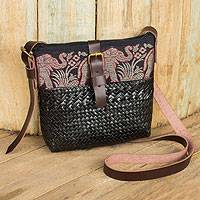 Natural fibers with leather accent shoulder bag Thai Elephant Parade on Black Thailand