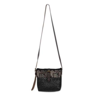 Black Sedge Shoulder Bag with Brown Leather Accents