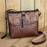 Natural fibers with leather accent shoulder bag, 'Thai Elephant Parade on Brown' - Hand Woven Sedge Shoulder Bag with Leather Accents