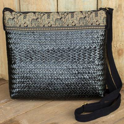 Natural fibers with cotton accent shoulder bag, 'Siam Elephants on Black' - Black Natural Fiber Shoulder Bag with Cotton Accent