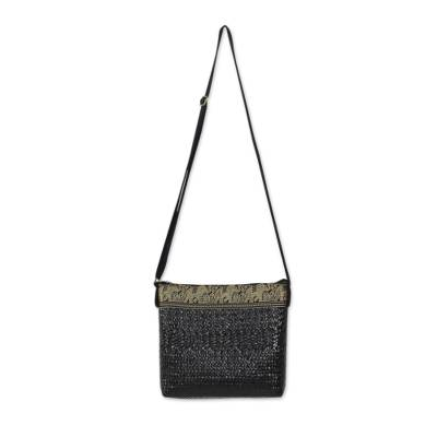 Black Natural Fiber Shoulder Bag with Cotton Accent