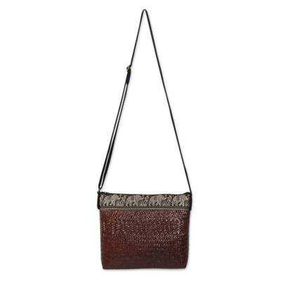 Brown Natural Fiber Shoulder Bag with Cotton Accent