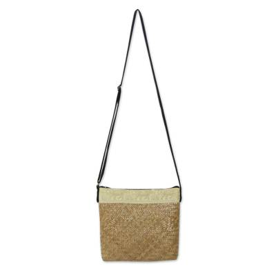 Beige Natural Fiber Shoulder Bag with Cotton Accent
