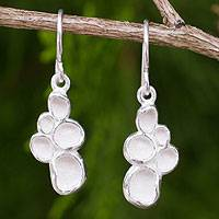 Sterling silver dangle earrings, 'Seed Pod' - Original Thai Handmade Textured Sterling Silver Earrings