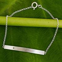 Sterling silver and peridot bar bracelet, 'Simple Energy' - Peridot and Brushed Silver Bar Bracelet from Thailand
