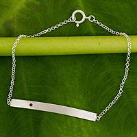 Sterling silver and garnet bar bracelet, 'Simple Devotion' - Brushed Sterling Silver and Garnet Bar Bracelet