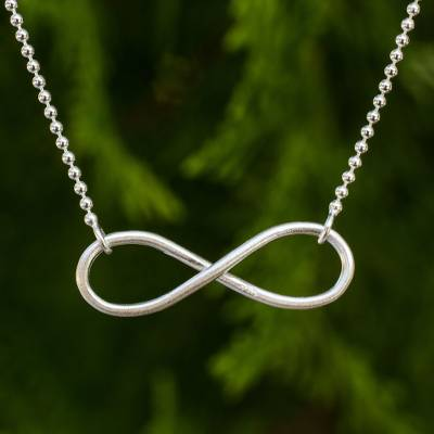 Sterling silver pendant necklace, 'Pure Infinity' - Sterling Silver Infinity Symbol in Artisan Crafted Necklace