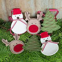 Christmas garland, 'Merry Holiday' - Holiday Garland with Felt Snowmen Deer and Christmas Trees
