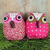 Cotton ornament, 'Holiday Party Owls' - Hand Crafted Cotton Hanging Animal Themed Pink Ornament