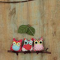 Cotton ornament, 'Happy Polka Dot Owl Pals' - Three Cotton Owls on a Branch Hanging Ornament