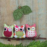 Cotton ornament, 'Happy Gingham Owl Pals' - Owls on a Tree Branch Artisan Crafted Hanging Ornament