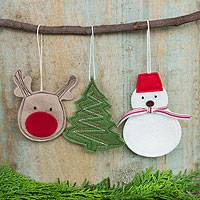 Christmas ornaments, 'Merry Holiday' (set of 3) - Felt Christmas Ornaments Sewn by Hand (set of 3)