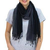 Silk scarves, 'Cool Night' (pair) - Hand Spun Silk Scarves in Dark Gray and Black (Pair)