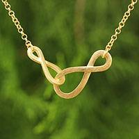 Gold vermeil pendant necklace, 'Into Infinity' - Brushed Gold Vermeil Necklace with Infinity Symbols
