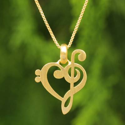 Gold vermeil heart necklace, 'Music of Love' - Artisan Crafted Brushed Vermeil Music Theme Necklace