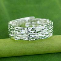 Sterling silver wrap ring, 'Bamboo Fantasy' - Thai Artisan Crafted Sterling Silver Band Wrap Ring
