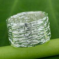 Sterling silver wrap ring, 'Bamboo Fantasy II' - Sterling Silver Band Artisan Crafted Wrap Ring from Thailand