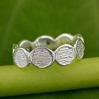 Sterling silver band ring, 'Connecting' - Artisan Crafted Sterling Silver Band Ring