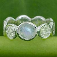 Rainbow moonstone band ring, 'Connecting' - Rainbow Moonstone on Sterling Silver Band Ring