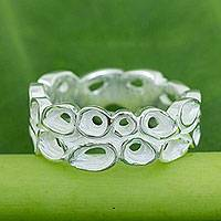 Sterling silver flower ring, 'Lotus Wreath' - Sterling Silver Band Ring Thai Fair Trade Jewelry