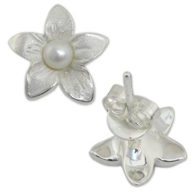 Cultured freshwater pearl button earrings, 'Blossom Pearl' - Feminine Cultured Freshwater Pearl and Silver Earrings