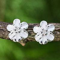 Sterling silver button earrings, 'Petite Bloom' - Handcrafted Sterling Silver 925 Flower Button Earrings